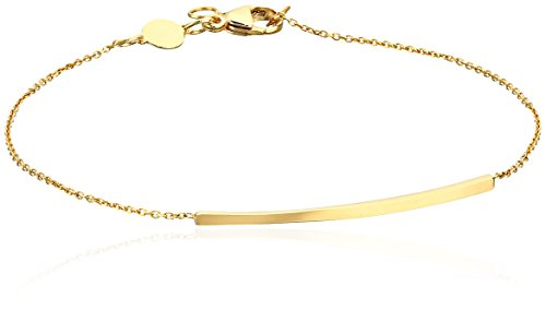 14k Italian Yellow Gold Curved Bar Fashion Adjustable Bracelet