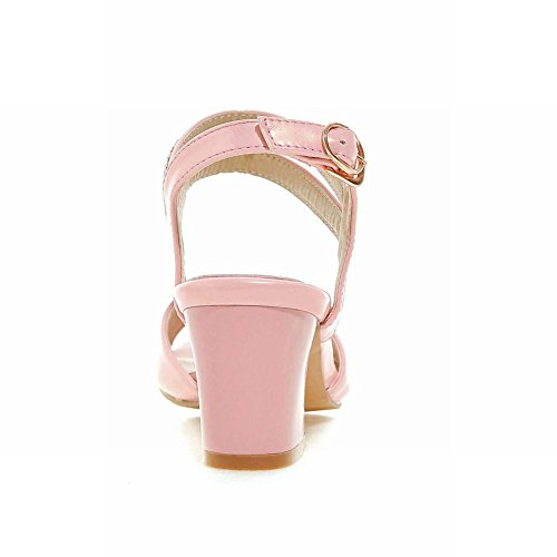 Carolbar Donna Fibia Strass Eleganza Dolce Moda Peep Toe Grosso Tacco Medio Sandali Abito Rosa