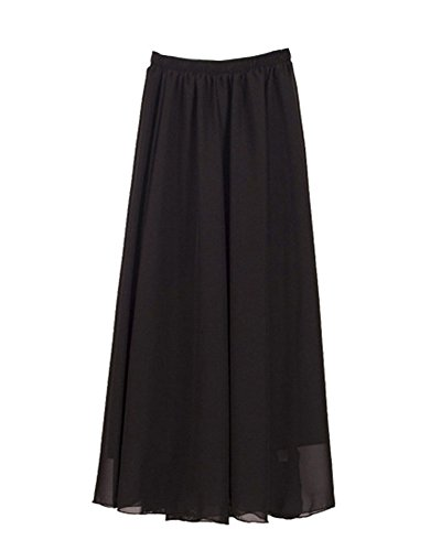 Mujer Maxi Larga Falda Bohemio Dobladillo Grande Gasa Faldas Vestidos De Plisadas Armada