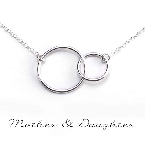Mother Necklace Silver Mothers Necklace - MOTHER DAUGHTER NECKLACE - PURE Sterling Silver Necklace - Gifts For Mom (HandeMade in the USA by Gracefully Made Jewelry)