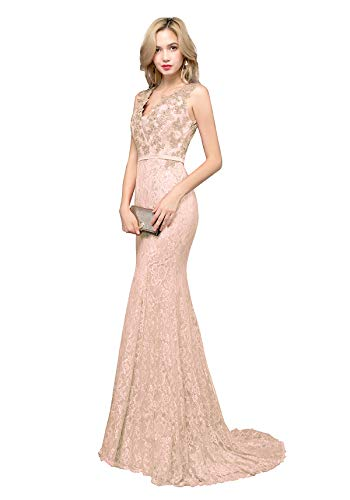 c8e2354f575b0 YSMei Women's Long V Neck Lace Beaded Evening Prom Dresses Mermaid Formal  Party Gowns Peach Pink 08