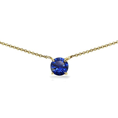 Yellow Gold Flashed Sterling Silver Created Blue Sapphire 7mm Round Dainty Choker -