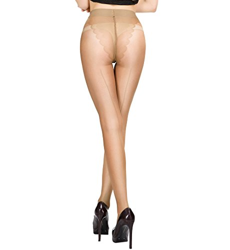 HONENNA Sheer Reinforced Crotch Pantyhose Tights With Back Seam (Medium, (Back Seam Spandex)