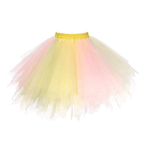 Topdress Women's 1950s Vintage Tutu Petticoat Ballet Bubble Skirt (26 Colors) Pink Yellow L/XL ()