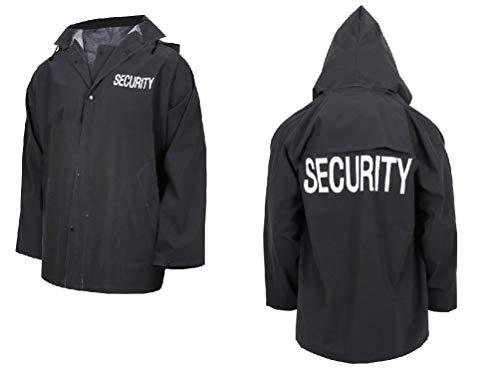 hersrfv clothing Store Mall Security Guard Officer Black Rain Coat Jacket W Removable Hood