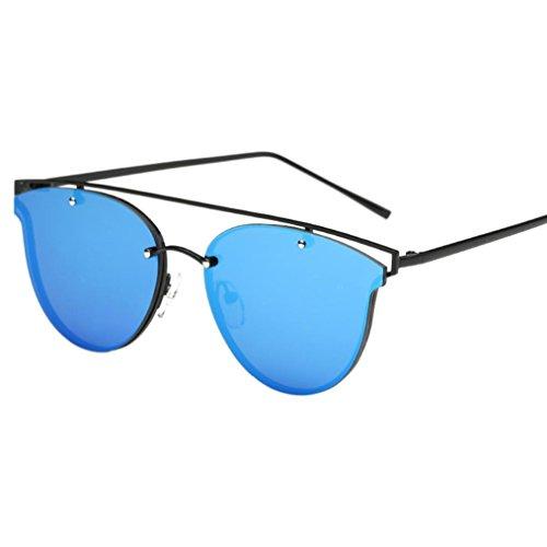 Lunettes de Soleil Ansenesna Cat Eye Fashion Métal Cadre Mirrored Flat Lenses Femmes Lunettes de soleil Bleu
