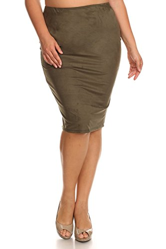Vialumi Womens Junior Plus Solid Faux Suede Knee Length Pencil Skirt Olive 3X