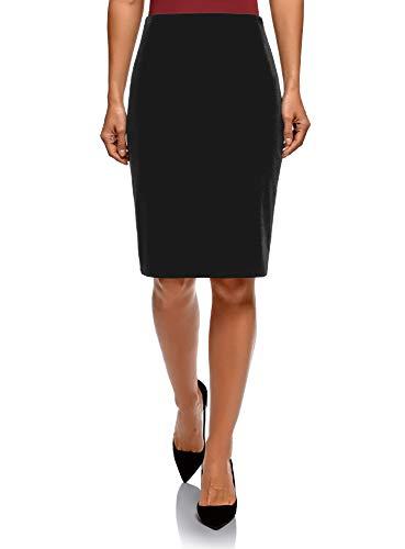 oodji Collection Women's Straight Velvet Skirt, Black, 6