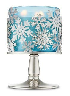 Bath and Body Works Tossed Snowflakes Pedestal 3 Wick Candle Holder. ()