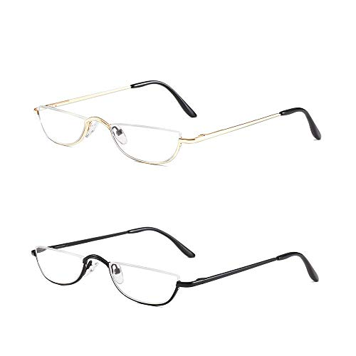 - Half Frame Reading Glasses Set of 2 Pairs Half Rim Metal Frame Glasses Spring Hinge Readers with Leather Pouch for Men and Women, 2.50 Strength Black+Gold
