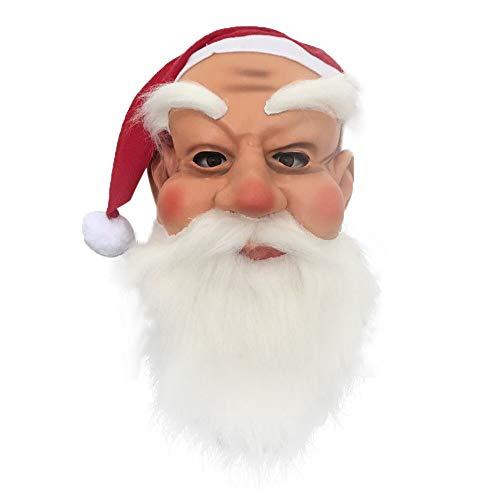 Kasien Christmas Mask, Santa Mask Hair Cosplay Latex Full Face Adult Party Red Father Christmas (Santa Claus)