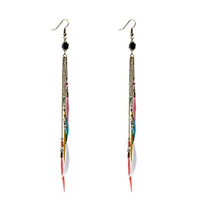 Ivysan Handmade Fashion Bohemian Natural Feather Long Dangle Earrings