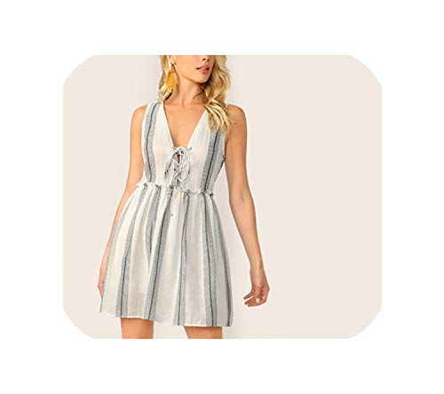 Wenzi-day Lace-up Neck Frill Trim Sleeveless Striped Summer Deep V Neck A Line Flared Sexy Dresses,White,L