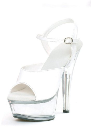 Womens 6 Inch Heel Sandal With Clear Bottom (White/Clear;9) 1WUZpL