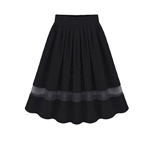Jupe Noir Ligne FuweiEncore Mousseline des Jupe pour Solide l't en Filles Soie Jupe Femmes Genou Une de Patineuse Longueur Plisse Printemps Base Plisse BfqSXIqwx
