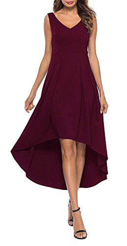 Womens Low V Dresses Tank Long High Dress burgundy Maxi Sleeveless Cocktail Party A1 ZJCT Neck 15qxd7nwqC
