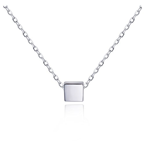 S.Leaf Simple Floating Square Pendant Necklace Silver Cube Charm Necklace (Silver)