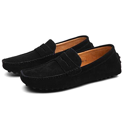 Hombres Cuero Verano Primavera Pisos Mocasines Zapatos Negro Masculinos Casuales Transpirable rZIZqxRT7w