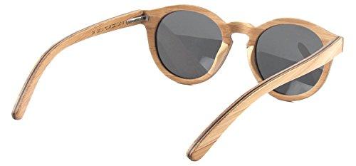 Beige madera WOLA polarizadas gafas mujer gafas lentes gafas UV400 en redondas skateboard de SELVA sol wood de sol RRfxTpq