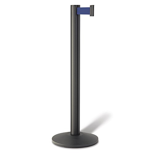 Beltrac 3000 Retractable Belt Stanchion, Wrinkle Black with 7 foot Blue Belt
