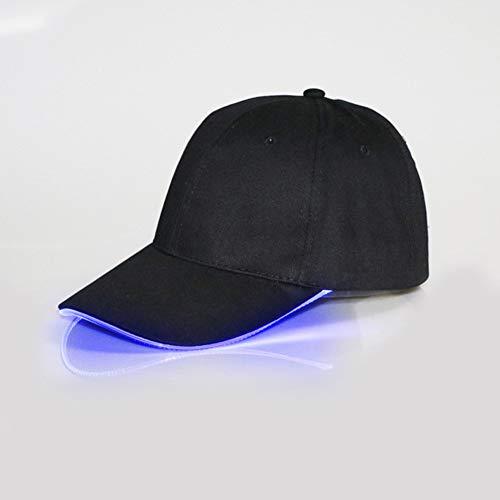 ShiningLove Novelty LED Glow in Dark Baseball Cap, Unisex USB Charging Bright Lights Flashing Hat Baseball Cap for Camping Running Stage Performers Black Hat Blue Light ()