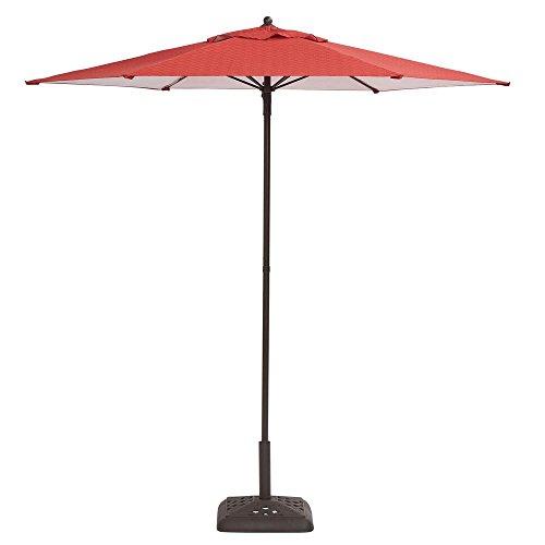 Hampton Bay 7-1/2 ft. Steel Push-Up Patio Umbrella in Geo Chili (Hampton Bay Patio Umbrella)