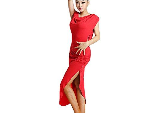 Motony Women Latin Dance Dress Latin Dance Practice Costume Adult Performance Skirt (X-Small, red) by Motony