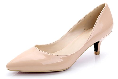 for Women Classic Slip On Pointed Toe Dress Pumps Shoes Nude PU Size 10.5 EU43 (Pink Patent Pointed Toe Heels)