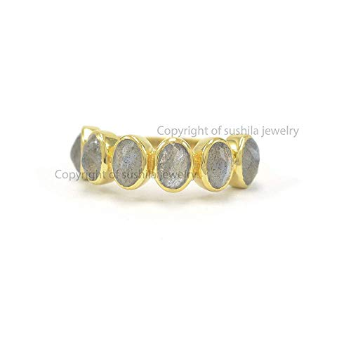 Christmas Gift Genuine 1.50 Ct. Labradorite Gemstone Cocktail Ring Solid 14k Yellow Gold Handmade Jewelry Size 3 to 9 (All size) ()