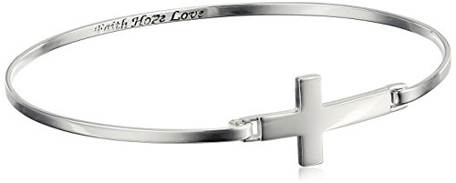 Sterling Silver Sideways Cross Engraved Bangle Bracelet, 8