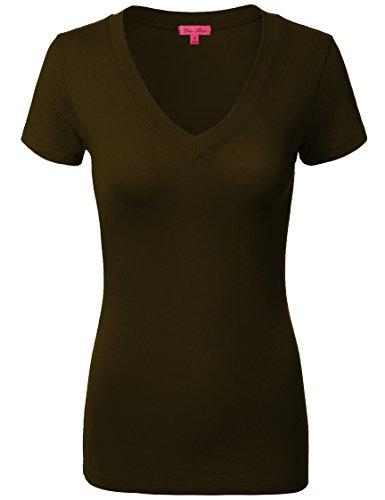 Comfy Basic Cotton Short Sleeve V-neck Top T-Shirts