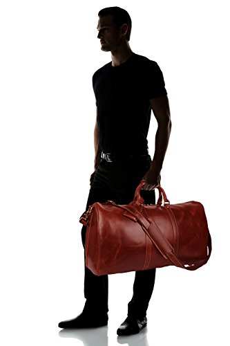 BAIGIO Men's luxury Leather Weekend Bag Travel Duffel Oversize Tote Duffle Luggage (Brown) by BAIGIO (Image #7)
