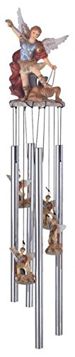 StealStreet SS-G-41704, Wind Chime Round Top Saint Michael The Archangel Religious Decoration