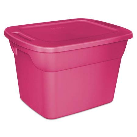 Large Storage Totes with Lid, Heavy Duty Reusable Plastic Bin Container Box - 8 Set, 18 Gallon Each - for Move Closet Garage Desk Shelves Clothes Books Basement - Fuschia Pink 24'' x 18.5'' x 15.7''
