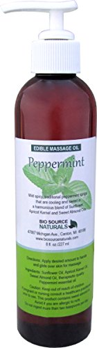 Oil Peppermint Massage - Peppermint Edible Massage Oil 8 Fl. Oz. Pump with Pure Peppermint Essential Oil in All Natural Plant Oils