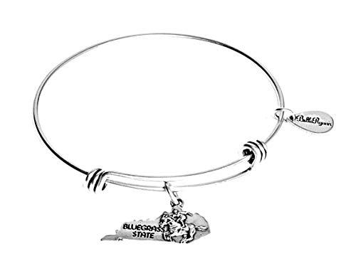 BellaRyann State Expandable Bangle Charm Bracelet in Vintage Silver (Kentucky)