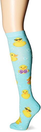 K. Bell Women's Original Series Novelty Knee High Socks, Rubber Ducks (Blue), Shoe Size: 4-10 ()