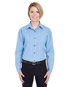 (UltraClub Women's Soft Cypress Denim Double-Needle Woven Shirt_S_Light Blue)