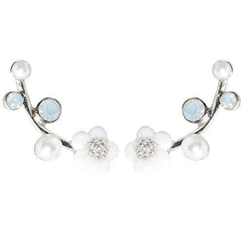 Rhinestone Flower Stud Earrings Crystal Pearl Dangle Earring Drop Chandelier Ear Cuff Women Girls Fashion Boho Piercing Clip On Wedding Bridal Tribal Charms Jewelry Silver Tone