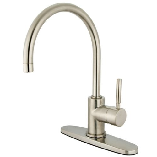 Kingston Brass KS8718DLLS Concord single Handle Kitchen Faucet with 8 Plate Without Sprayer, Brushed Nickel