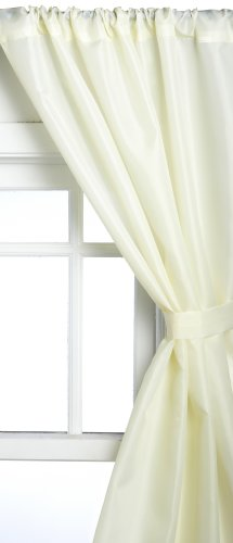 Bathroom Curtain Window Fabric (Carnation Home Fashions Fabric Bathroom Window Curtain, Ivory)