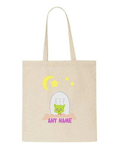 Zombie Grave Name Custom Bag Halloween Personalised Dog Beige Tote Any Shopper ArxSCwqAnF