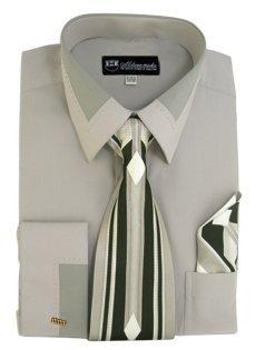 Milano Moda High Fashion Dress Shirt with Contrast Design Tie, Hankie & Cuffs Gray-17-17 1/2-34-35 ()