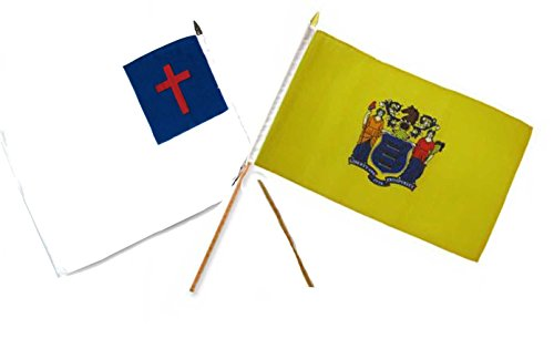 (ALBATROS 12 inch x 18 inch Christ Christian State New Jersey Stick Flag for Home and Parades, Official Party, All Weather Indoors Outdoors)