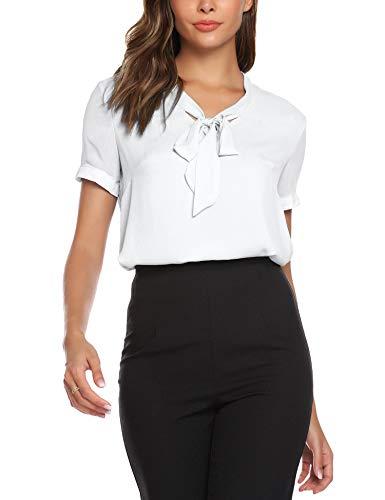 URRU Women's Office Shirts Bow Tie V Neck Short Sleeve Layered Chiffon Blouse White XXL