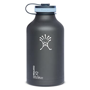 Hydro Flask Insulated Stainless Steel Wide Mouth Water Bottle and Beer Growler, 64-Ounce, Black