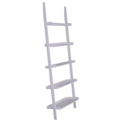 Bookcase Bookshelf Leaning Wall Plant Shelf Ladder Storage Display New White 5-Tier
