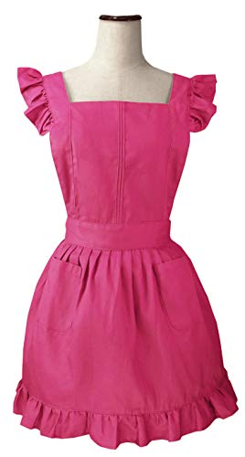 LilMents Retro Adjustable Ruffle Apron Kitchen Cooking Baking Cleaning Maid Costume (Cherry Pink)