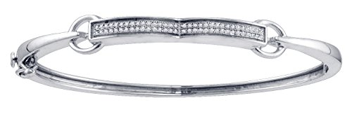 Sterling Silver Womens Round Diamond Single Row Bangle Bracelet 1/5 Cttw by Jawa Fashion