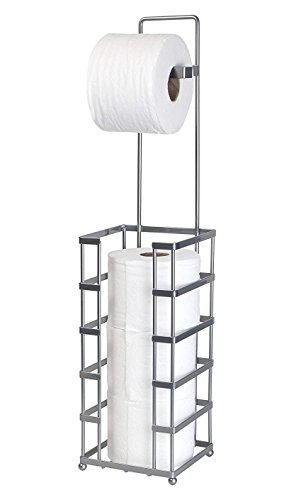 Modern Style Toilet Paper Reserve Holder with Dispenser - Beautiful Chrome Finish – Hold 4 Tissue Rolls – No Assembly Required - Heavy Gauge Wire – Free Standing Bathroom Storage Accessory by Richards Homewares
